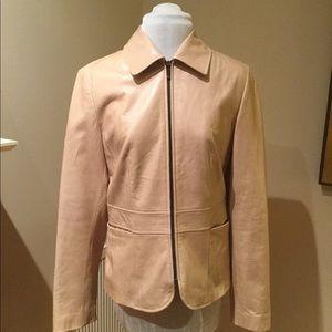 Ann Taylor Cream 100 % Genuine Leather Jacket